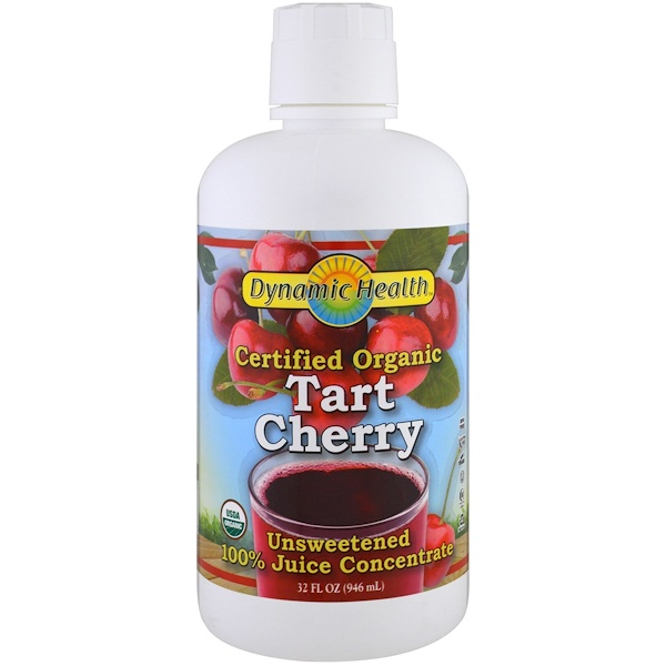 Dynamic Health  Laboratories, Certified Organic Tart Cherry, 全 Juice Concentrate, Unsweetened, 32 fl oz (946 ml)