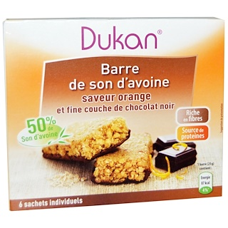 Dukan Diet, Oat Bran Orange Chocolate Bars, 5.28 oz (6 bars)