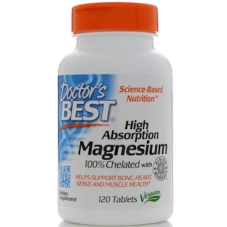 Doctor's Best, High Absorption Magnesium, 120 Tablets