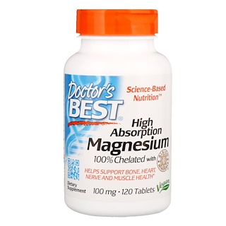 Doctor's Best, High Absorption Magnesium 100% Chelated with Albion Minerals, 120 Tablets