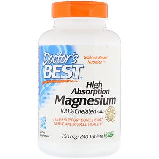 Doctor's Best, High Absorption Magnesium 100% Chelated with Albion Minerals, 100 mg, 240 Tablets