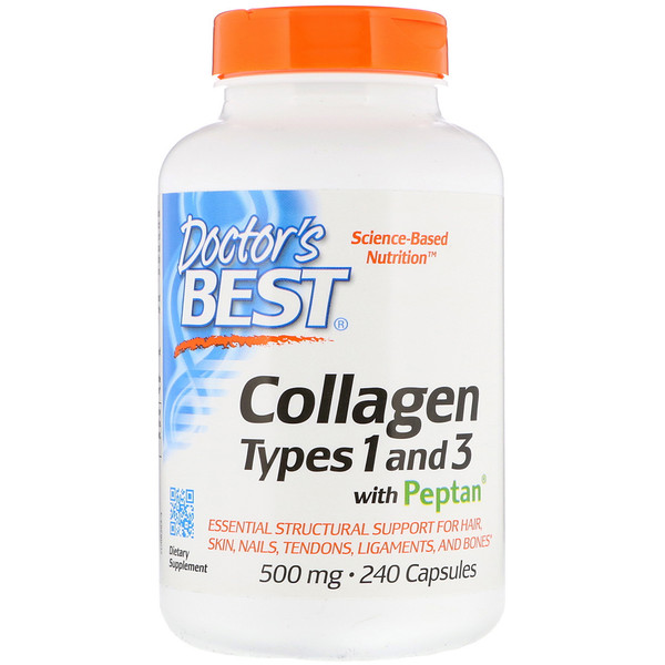 Collagen Types 1 and 3 with Peptan, 500 mg, 240 Capsules