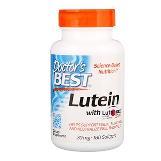 Doctor's Best, Lutein With Lutemax 2020,20 毫克,180 粒软胶囊