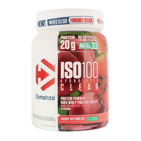 Dymatize Nutrition, ISO100 Hydrolyzed Clear, 全 Whey Protein Isolate, Cherry Watermelon, 1.1 lb (500 g) (Discontinued Item)