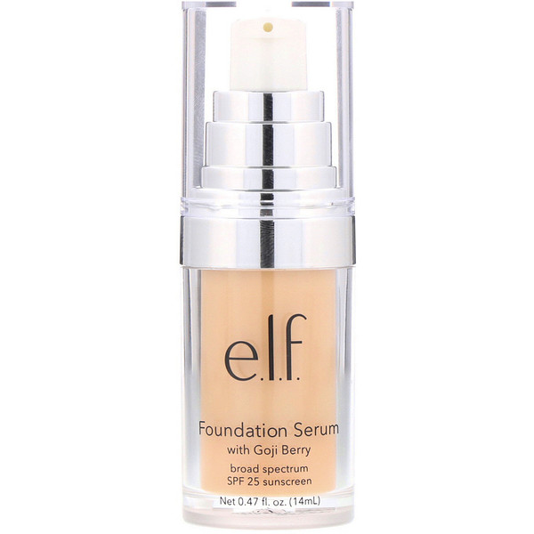 E.L.F., Beautifully Bare Foundation Serum with Goji Berry, Broad Spectrum SPF 25 Sunscreen, Light/Medium, 0.47 fl (14 ml) (Discontinued Item)