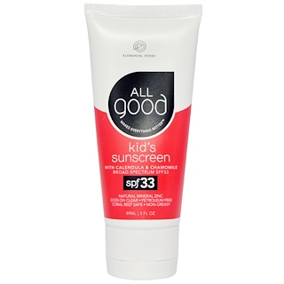 All Good Products, Kids Sunscreen, SPF 33, 3 fl oz (89 ml)