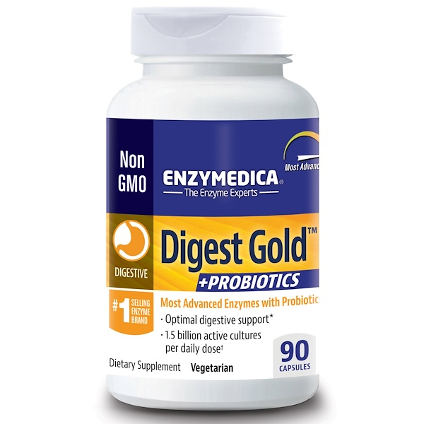 Enzymedica, Digest Gold,+益生菌,90 粒胶囊