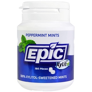 Epic Dental, 100%木糖醇甜味, 薄荷糖, 180 粒
