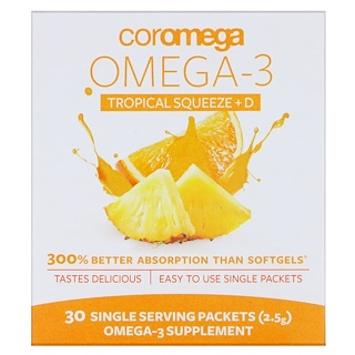 Coromega, Omega3+D Squeeze, Tropical Orange, 30 Squeeze Packets, (2.5 g)