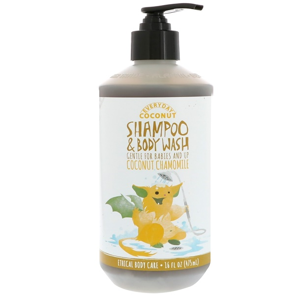 Alaffia, Everyday Coconut, Shampoo & Body Wash, Gentle for Babies and Up, Coconut Chamomile, 16 fl oz (475 ml)