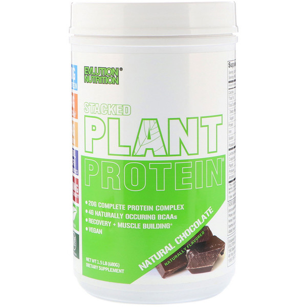 EVLution Nutrition, Stacked Plant Protein植物蛋白质粉,天然巧克力,1.5磅(680克)