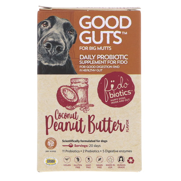 Fidobiotics, Good Guts, Coconut Peanut Butter, Daily Probiotic, 12 Billion CFUS, For Big Mutts, 1.4 oz (40 g)