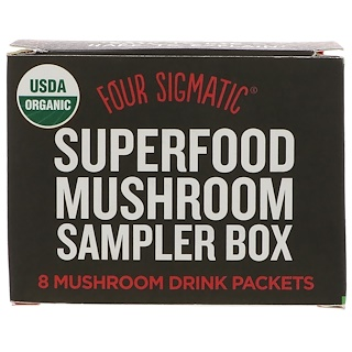 Four Sigmatic, Superfood Mushroom Sampler Box, 8 Mushroom Drink Packets