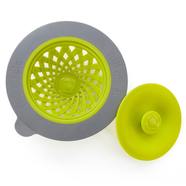 Sinksationational, Sink Strainer with Pop-Out Stopper, Green & Slate