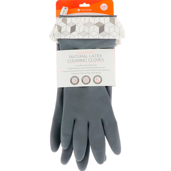 Splash Patrol, Natural Latex Cleaning Gloves, Grey, Size S/M