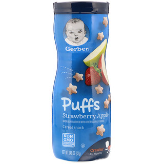 Gerber, Puffs Cereal Snack, Crawler, 8+ Months, Strawberry Apple, 1.48 oz (42 g)