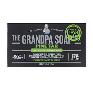 Grandpa's, Face Body & Hair Bar Soap, 奇迹松焦油皂, 4.25 盎司 (120 g)