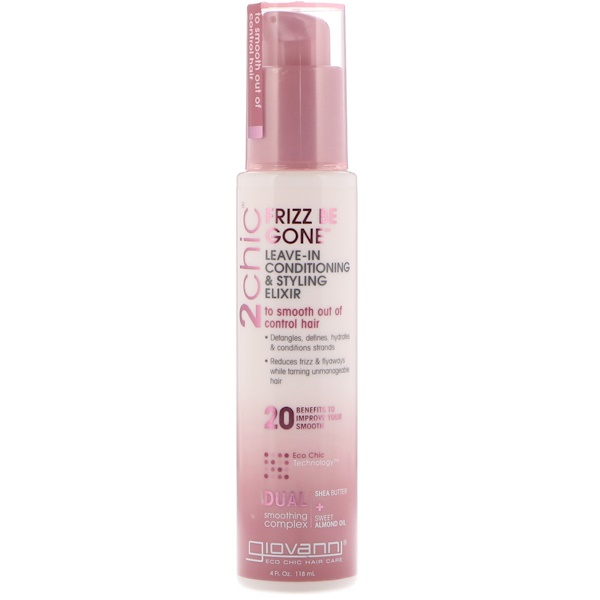 2chic, Frizz Be Gone Leave-In Conditioning & Styling Elixir, Shea Butter & Sweet Almond Oil, 4 fl oz (118 ml)