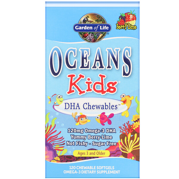 Garden of Life, Oceans Kids, DHA Chewables, Age 3 and Older, Yummy Berry Lime, 120 mg, 120 Chewable Softgels