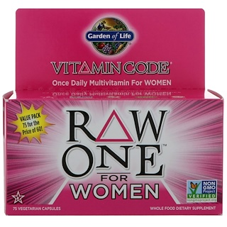 Garden of Life, Vitamin Code, Raw One, Once Daily Multi-Vitamin for Women, 75 UltraZorbe Veggie Caps