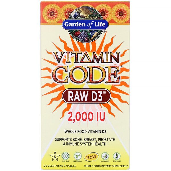 Garden of Life, Vitamin Code,RAW 维生素 D3,2000 IU,120 粒素食胶囊