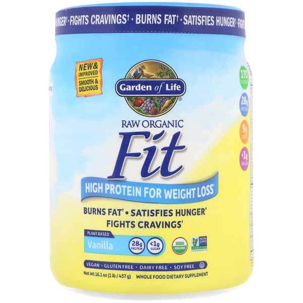 RAW Organic Fit, High Protein for Weight Loss, Vanilla, 16.1 oz (457 g)