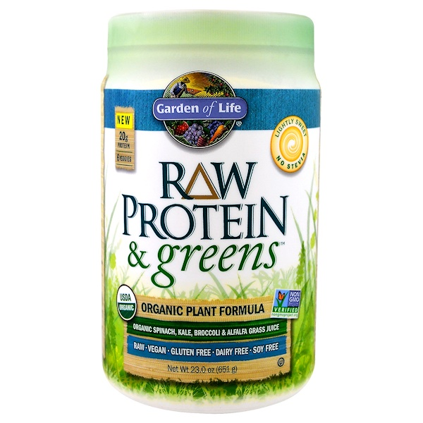 Garden of Life, Raw Protein & Greens,微甜,23.0盎司(651克)