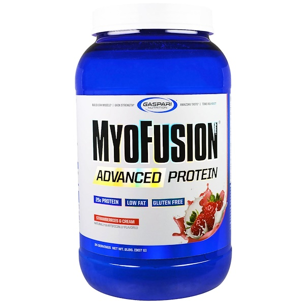 Gaspari Nutrition, MyoFusion, Advanced Protein, Strawberries & Cream, 2 lbs (907 g) (Discontinued Item)