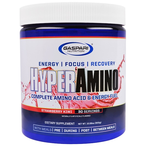 Gaspari Nutrition, HyperAmino, Strawberry Kiwi, Net Wt 10.58 oz (300 g)