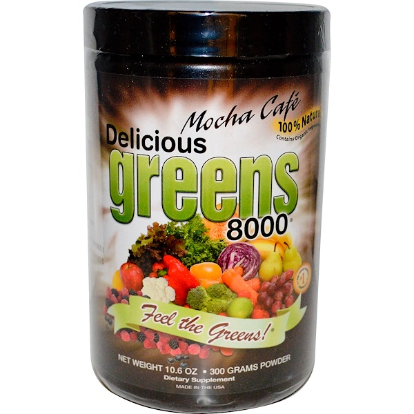 Greens World, 美味超级绿色食品 8000, 摩卡咖啡味, 10.6 盎司 (300 克)