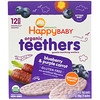Happy Family Organics, Organic Teethers, Gentle Teething Wafers, Blueberry & Purple Carrot, 12 Packs, 0.14 oz (4 g) Each