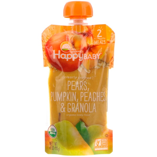 Organic Baby Food, Stage 2, Clearly Crafted   6+ Months, Pears, Pumpkin, Peaches & Granola, 4 oz (113 g)