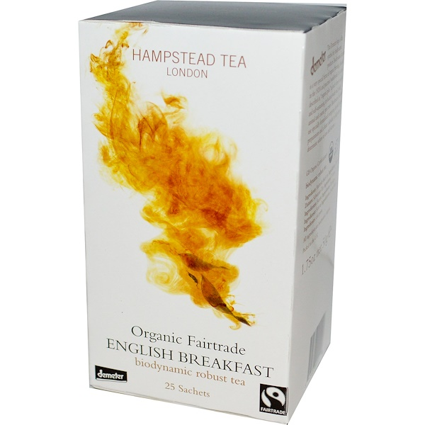 Hampstead Tea, Organic Fairtrade, English Breakfast, 25 Sachets, 1.75 oz (50 g) (Discontinued Item)