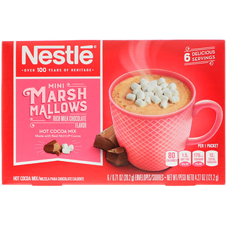 Nestle Hot Cocoa Mix, 迷你棉花糖,丰富的牛奶巧克力味,6包,0.71盎司(20.2 克)/包