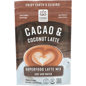 Hana Beverages, Cacao & Coconut Latte, Non-Coffee Superfood Beverage, 3.3 oz (93.6 g)'