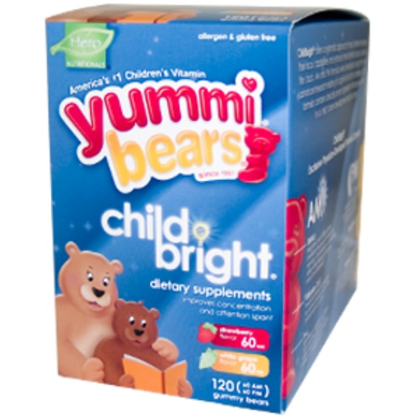 Hero Nutritional Products, Yummi Bears, ChildBright, Strawberry & White Grape Flavors, (60 AM - 60 PM) 120 Gummy Bears (Discontinued Item)