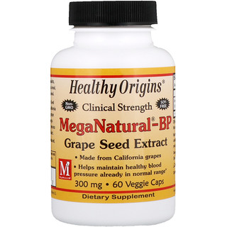 Healthy Origins, MegaNatural-BP 葡萄籽提取物,300 毫克,60 粒素食胶囊