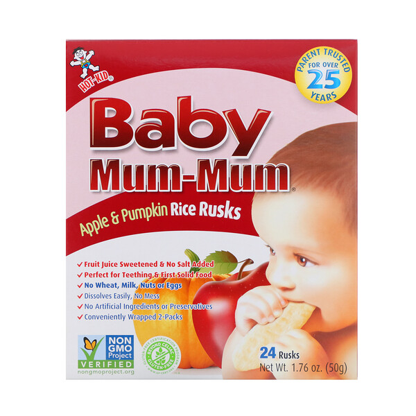 Hot Kid, Baby Mum-Mum,苹果南瓜米饼,24块,1.76 oz (50 g)