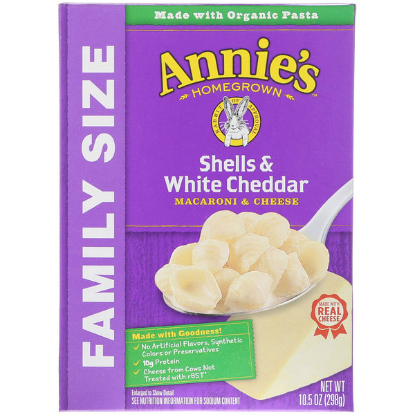 Annie's Homegrown, Macaroni & Cheese, Shells & White Cheddar, Family Size, 10.5 oz (298 g) (Discontinued Item)