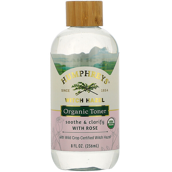 Humphrey's, Witch Hazel, Certified Organic Toner with Rose, Soothe, 8 fl oz (236 ml)