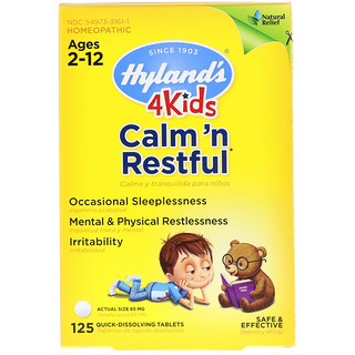 Hyland's, 4 Kids, Calm' n Restful, Ages 2-12, 125 Quick-Dissolving Tablets