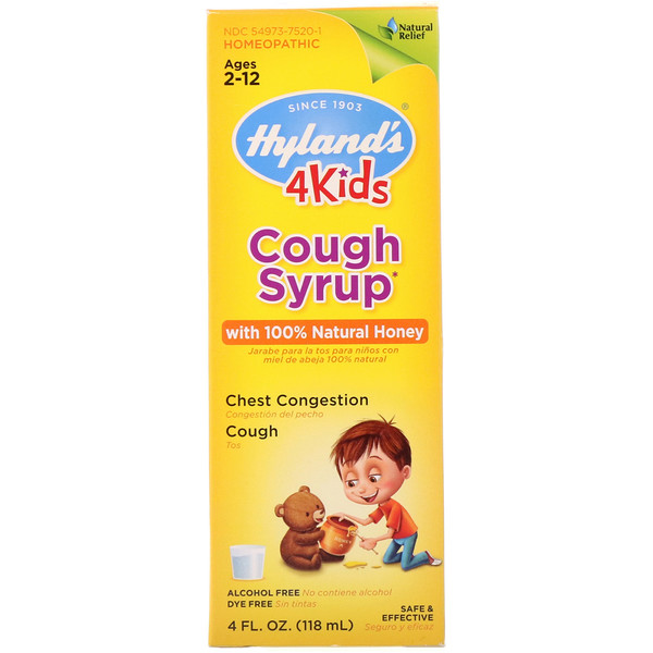 4 Kids, Cough Syrup with 全 Natural Honey, Ages 2-12, 4 fl oz (118 ml)