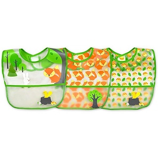 iPlay Inc., Green Sprouts, Wipe-Off Bib, 9-18 Months, Green Fox Set, 3 Pack