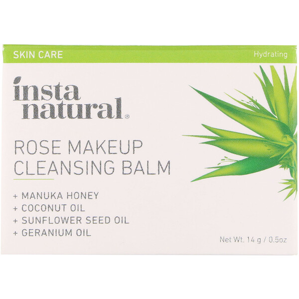 InstaNatural, Rose Makeup Cleansing Balm, Hydrating, 0.5 oz (14 g)
