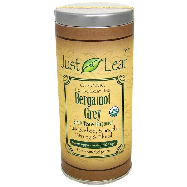 Just a Leaf Organic Tea, 佛手柑伯爵茶,红茶和佛手柑,3.5盎司(99 克) (Discontinued Item)