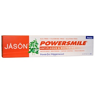 Jason Natural, PowerSmile,抗斑美白牙膏,浓郁薄荷,6 盎司(170 克)