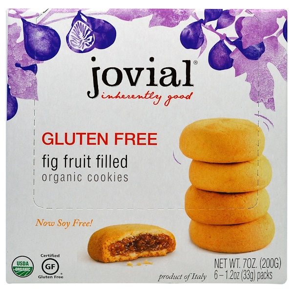 Jovial, Organic Cookies, Fig Fruit Filled, 6-1.2oz