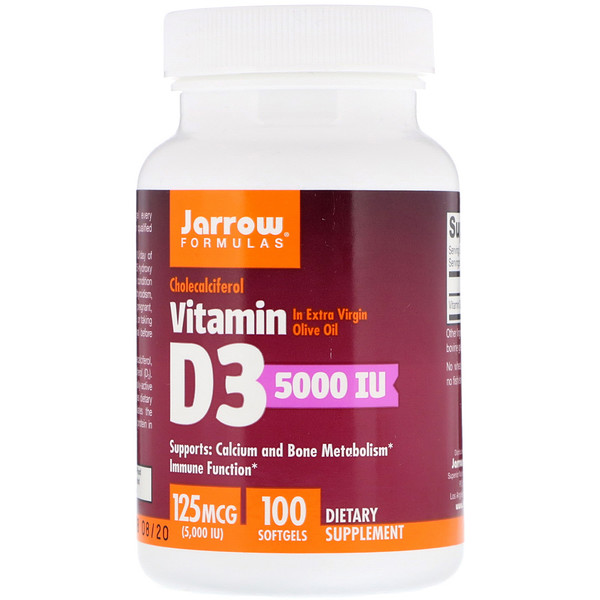 Jarrow Formulas, Vitamin D3, Cholecalciferol, 5,000 IU, 100 Softgels