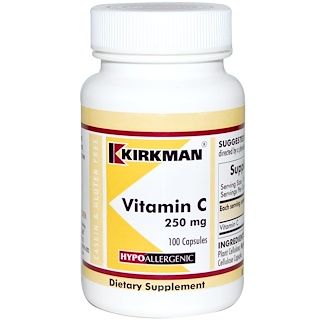 Kirkman Labs, Vitamin C, 250 mg, Hypo-Allergenic, 100 Capsules