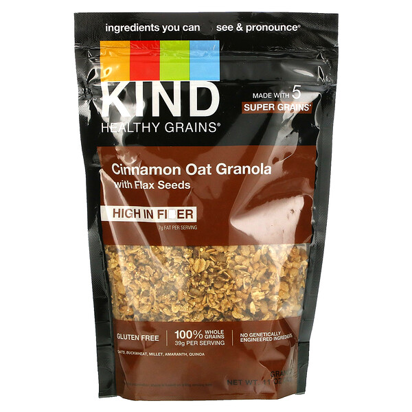 Healthy Grains, Cinnamon Oat Granola with Flax Seeds, 11 oz (312 g)